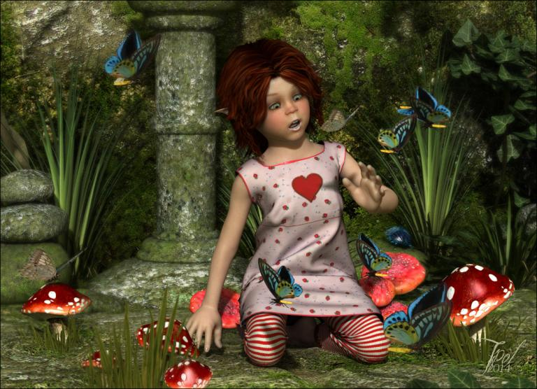 Baby elf and the butterflies